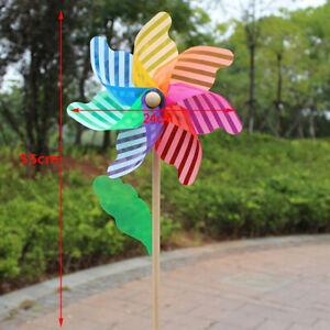 24cm Wood windmill garden yard party outdoor wind spinner ornament kids _hg