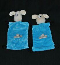 Lot 2 peluche doudou mouton plat bleu BRIOCHE BERYL chien pattes noir TTBE
