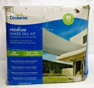 "Coolaroo Premium Shade Sail Kit, (16'5""x9'11"" Rectangle), Stone Grey - Open Box"
