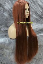 Long Straight Auburn Red With Hair Part Full Synthetic Wig Hair Piece #130 NWT