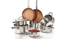 11 Piece Steel Induction Pan Set Copper Style Non-Stick CERAMIC Gas Hobs NEW