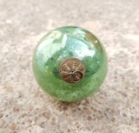 "ANTIQUE ORIGINAL 2.5"" SEA GREEN GLASS CHRISTMAS HEAVY KUGEL/ORNAMENT, GERMANY"