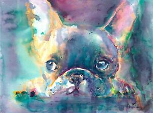 "UNFRAMED CANVAS PRINT french bulldog abstract WALL ART MEDIUM 20x30"" inches"