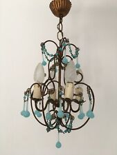 Lustre en opaline bleu Murano gouttes opaline bleue chandelier éclairage