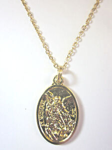 """St Michael Archangel Guardian Angel Medal Pendant Necklace Gold Plated 20"""" Chain"""