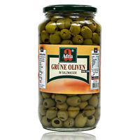 Adria - Grüne Oliven entsteint in Salzlake eingelegt im 900 g Glas (ohne Stein)