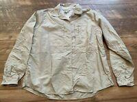 ROYAL ROBBINS Khaki Nylon Vented Casual Button Up Shirt Top Blouse womens Medium