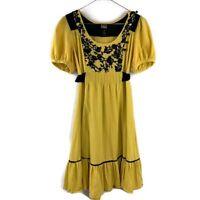 Anthro Lithe Embroidered Yellow & Black Peasant Mini Tunic Dress, Size 2