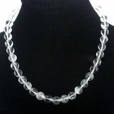 "Fashion 10mm Natural Clear Quartz Gemstone Round Bead Necklace 18"" JN1700"