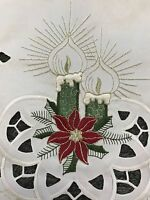 Christmas Party Candle Red Poinsettia Embroidered Dinning Table Placemat Runner