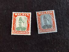 Malaya: Selangor 1941 1$ & 2$ (SG # 86 & 87), set of 2 Stamps, Mounted mint (MH