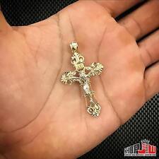 Mens Real 14k Gold Ornate Cross Pendant Charm Diamond Cut Crucifix Jesus Christ