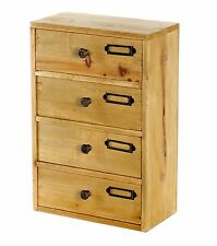 Small Wooden Tall Chest 4 Drawers Desk Tidy Wood Rustic Shabby Chic Storage D03