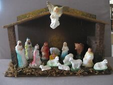 VINTAGE NATIVITY 17 CHALK FIGURES BARN CRECHE made in?