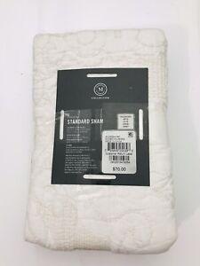 Martha Stewart Collection Gilded Age 100% Cotton Quilted STANDARD Sham White