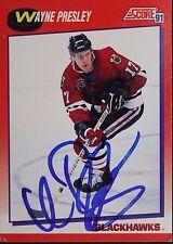 Wayne Presley Blackhawks Autographed 1991 Score #221R Hockey Card JSA 16H
