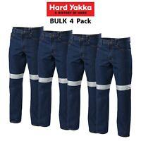 Mens Hard Yakka Denim Jeans 4 Pack Taped Work Pants Heavy Duty Tough Farm Y03513
