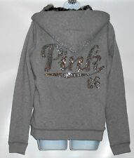 Victoria's Secret Pink Limited Edition Bling Sequin Faux Fur Lined Hoodie M NWT