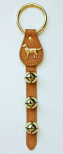 JINGLE BELLS - SLEIGH BELLS WITH GOLDEN RETRIEVER CHARM - TAN LEATHER STRAP