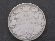1908 Canada Fifty Cents .925 Silver Coin D8621