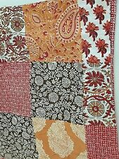 Floral & Paisley Patchwork King size Quilted Pillow Sham Peach Red Tan Country