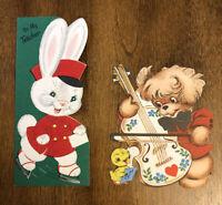 Vtg Lot 2 Greeting Cards Christmas Teacher Flocking Valentines Die Cut Unused