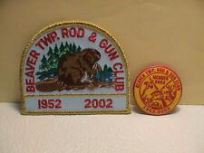 LOT /2 BEAVER TOWNSHIP PENNSYLVANIA 1952 TO 2002 ROD & GUN HUNTING PATCH & PIN