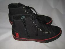 BOYS BLACK HIGH TOPS FROM CHROME SIZE 5 RED SOLE LACE & SIDE ZIPPER TRENDY COOL