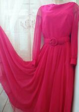 VINTAGE Miss Elliette Of California Womens Maxi Dress Magenta Chiffon Layer sz L