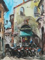 Landscape Painting Watercolor Original Italy Spoleto Pein air Cityscape 15x11 in