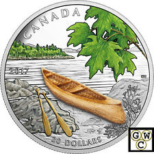 2017Canoe to Tranquil Times $20 Silver Coin with 3d Wooden Canoe1oz .9999(18161)