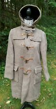 Original GLOVERALL England Beige Brown Wool Duffle Coat Toggle Buttons Hood 12