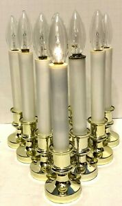 10 Battery Operated Candle Stick Lights w/ Bulbs Faux Goldtone Window Christmas