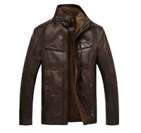 New Winter 2016 Mens Coats Soft Real Leather Sheepskin fur stand collar jackets