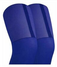 Ladies Womens Girls Mock Stockings Suspenders Tights Electric Blue Brand New