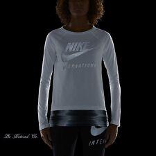 Nike International Women's Long Sleeve Top M White Reflective Metallic Shirt New