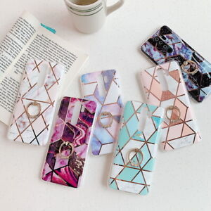 For Xiaomi Redmi Note 8 7 6 Pro Marble Plating Ring Holder Soft Phone Case Cover