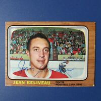 JEAN BELIVEAU 1966-67 Topps # 73  autographed Signed  AUTO  Montreal  Canadiens