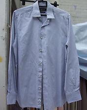 Massimo Dutti Excellent Mens Long Sleeve Blue Stripe Shirt 39 15+1/2 Slim Fit
