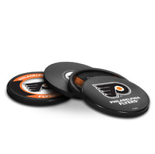 NEW PHILADELPHIA FLYERS ACTUAL HOCKEY PUCK COASTERS SET IN CASE