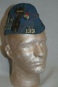 American Legion Garrison, Overseas Cap, Illinois Post 133 with Medals, h46