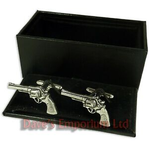 Revolver Cufflinks - Gift Boxed - English Pewter - Pistol 6-Gun Cowboy Cuff Link
