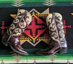 Vtg Tony Lama Black/Gold Label Boots Cherry Patent Leather women's 10 A narrow