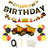 Construction Digger Happy Birthday Decorations Bunting Banners Balloons Party