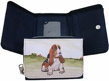 BASSET HOUND DOG DENIM BLUE FABRIC PURSE WALLET WATERCOLOUR PRINT SANDRA COEN