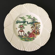 "Wedgwood Etruria England 9"" Plate Geisha Asian Design w/ Embossed Fan Edge"