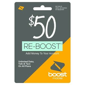 Boost Mobile - Re-Boost $50 Prepaid Phone Card Refilled directly to your mobile