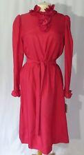 Vintage 70s Dress Secretary Ruffle High Collar Nwt sz 14