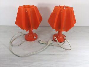 Authentic orange mecanic 70s pair of lamps hippie retro German or Italian Design