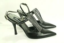 Claudio Milano Vero Cuoio Women's Sandal Black Leather Crystal Size 40 Italy #51